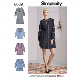 Simplicity Sewing Pattern 8689 Women's Boho Shirt Dress with Trims