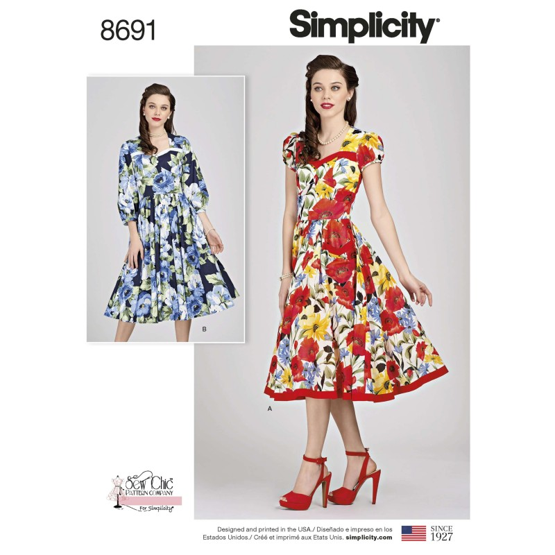 Simplicity Sewing Pattern 8691 Women's Sew Chic Retro Inspired Dress