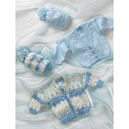 Knitting Pattern James C Brett JB004 Babies Cardigan Hat & Mittens