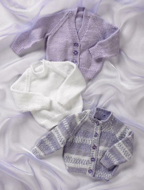 Knitting Pattern James C Brett JB001 Babies Jumper Cardigans Baby DK Shimmer