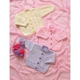 Knitting Pattern James C Brett JB005 Babies Cardigan with Flower Detail