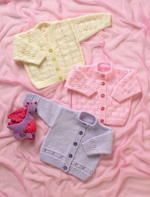 Knitting Pattern James C Brett JB005 Babies Cardigan with Flower Detail