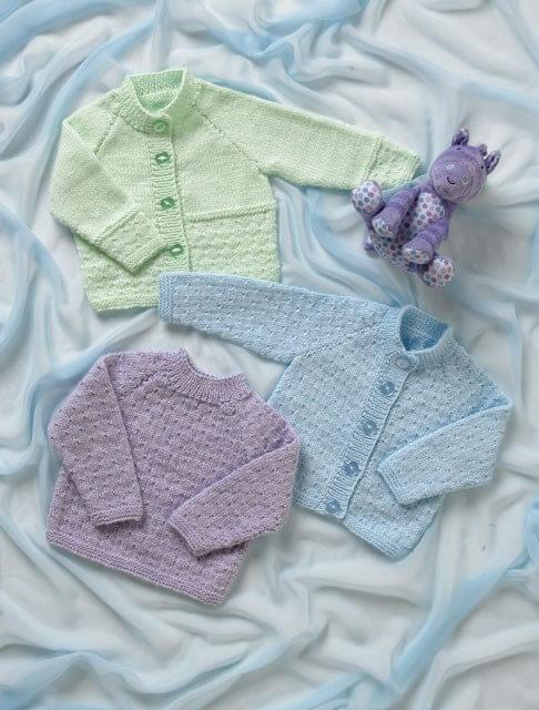 Knitting Pattern James C Brett JB007 Babies Cardigan & Jumper