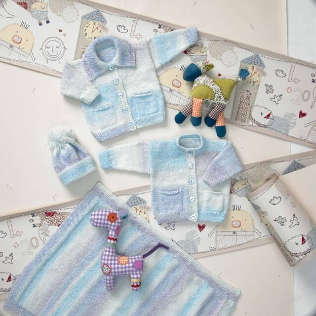 Knitting Pattern James C Brett JB010 Baby Marble DK Cardigan & Bobble Hat