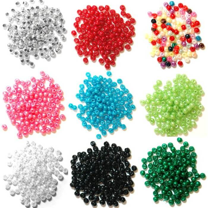 5mm Pearl Plastic Beads  Silver