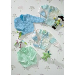 Knitting Pattern James C Brett JB025 Baby Marble DK Shimmer Cardigan & Jumper