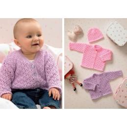 Knitting Pattern James C Brett JB033 Baby DK Shimmer Cardigan & Hat