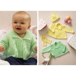 Knitting Pattern James C Brett JB036 Baby DK Shimmer Cardigan & Scarf & Hat