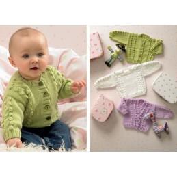 Knitting Pattern James C Brett JB037 Baby DK Shimmer Cardigan & Jumper