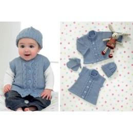 Knitting Pattern James C Brett JB082 Baby DK Shimmer Jumper, Vest, Hat, Gloves