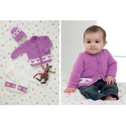 Knitting Pattern James C Brett JB083 Baby DK Shimmer Heart Cardigan & Hat