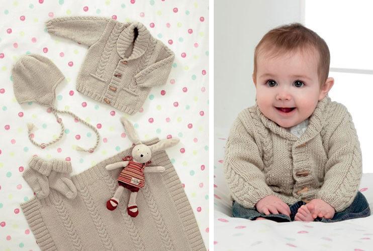 Knitting Pattern James C Brett JB084 Baby DK Shimmer Cardigan, Bonnet & Booties
