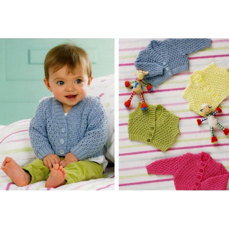 Knitting Pattern James C Brett JB126 Baby 4 Ply Cardigan & Vest