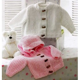 Knitting Pattern James C Brett JB172 Baby Flutterby Chunky Hooded Cardigan