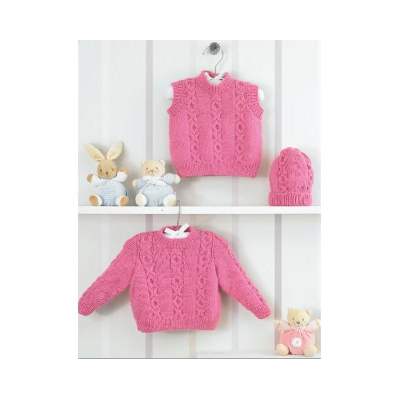 Knitting Pattern James C Brett JB205 Baby DK Cardigan, Vest & Hat