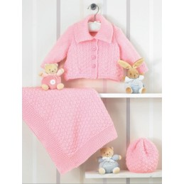 Knitting Pattern James C Brett JB206 Baby DK Cardigan, Hat & Blanket