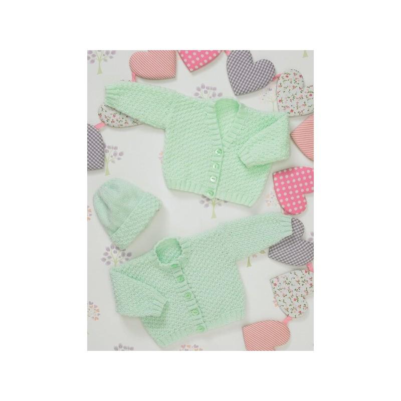 Knitting Pattern James C Brett JB234 Baby DK Cardigan & Hat