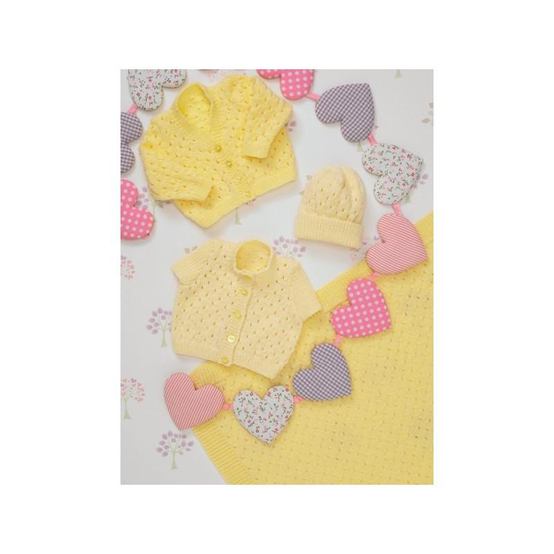 Knitting Pattern James C Brett JB236 Baby DK Cardigan & Vest