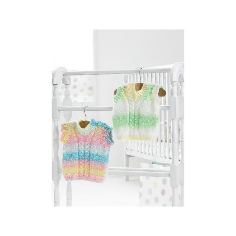 Knitting Pattern James C Brett JB353 Baby DK Sleeveless Cardigan & Vest