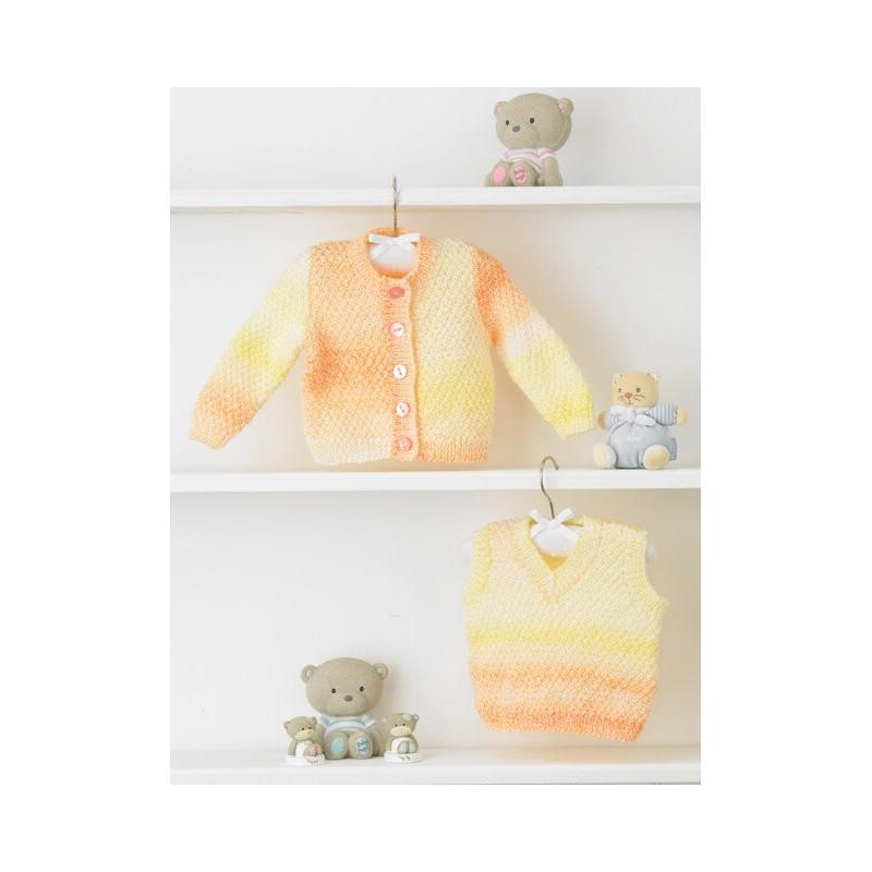 Knitting Pattern James C Brett JB356 Baby DK Chunky Cardigan & Vest
