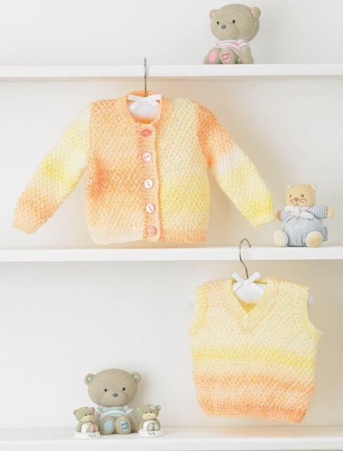 Knitting Pattern James C Brett JB356 Baby DK Chunky Cardigan & Vest