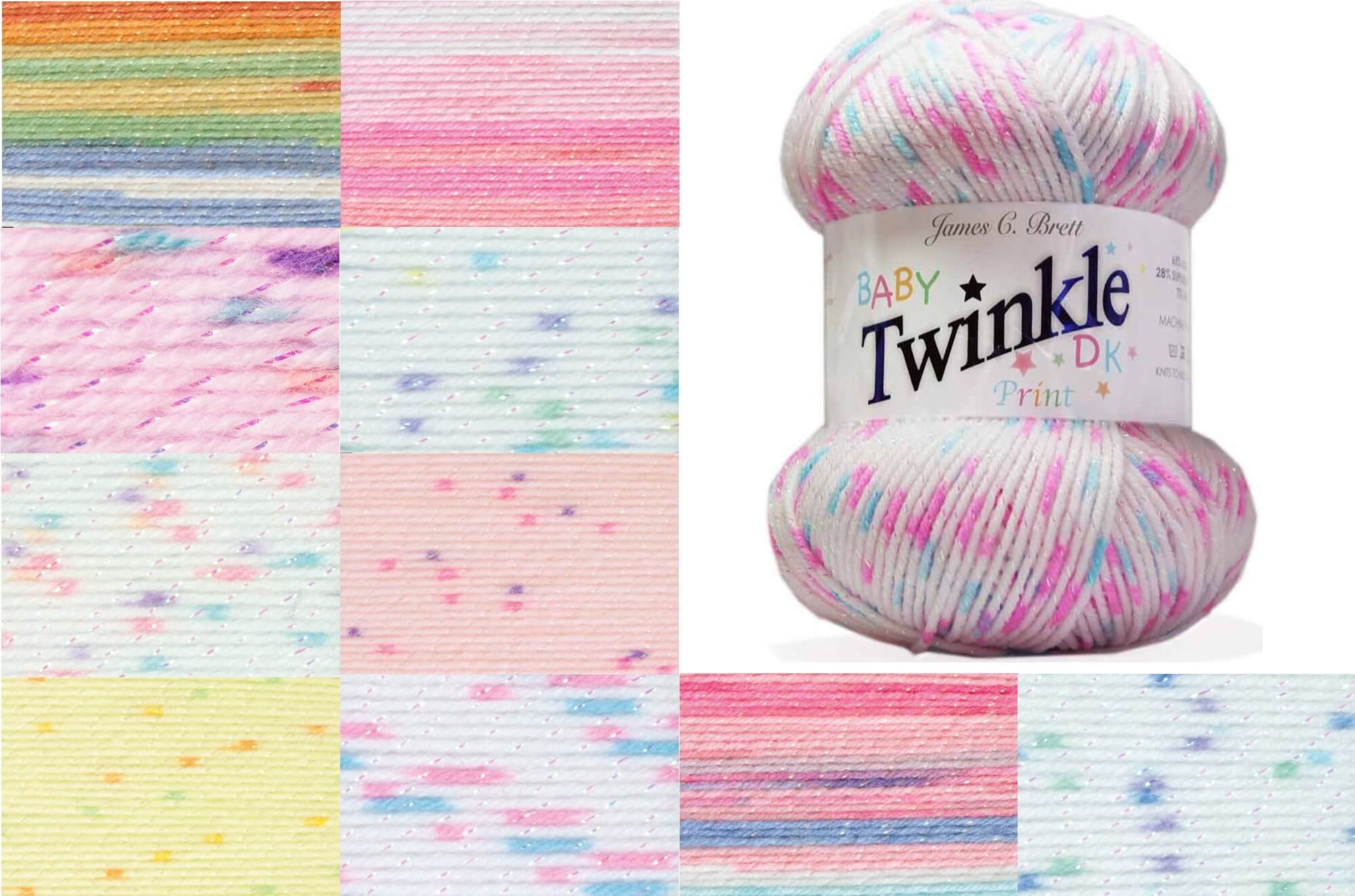 James C Brett Baby Twinkle Print DK Yarn 100g Ball Knitting Yarn Knit Craft BTP1