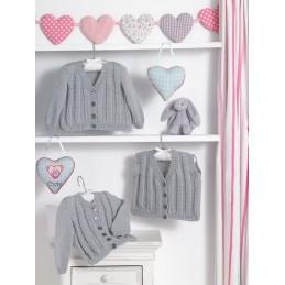 Knitting Pattern James C Brett JB481 Baby DK Cardigan & Vest