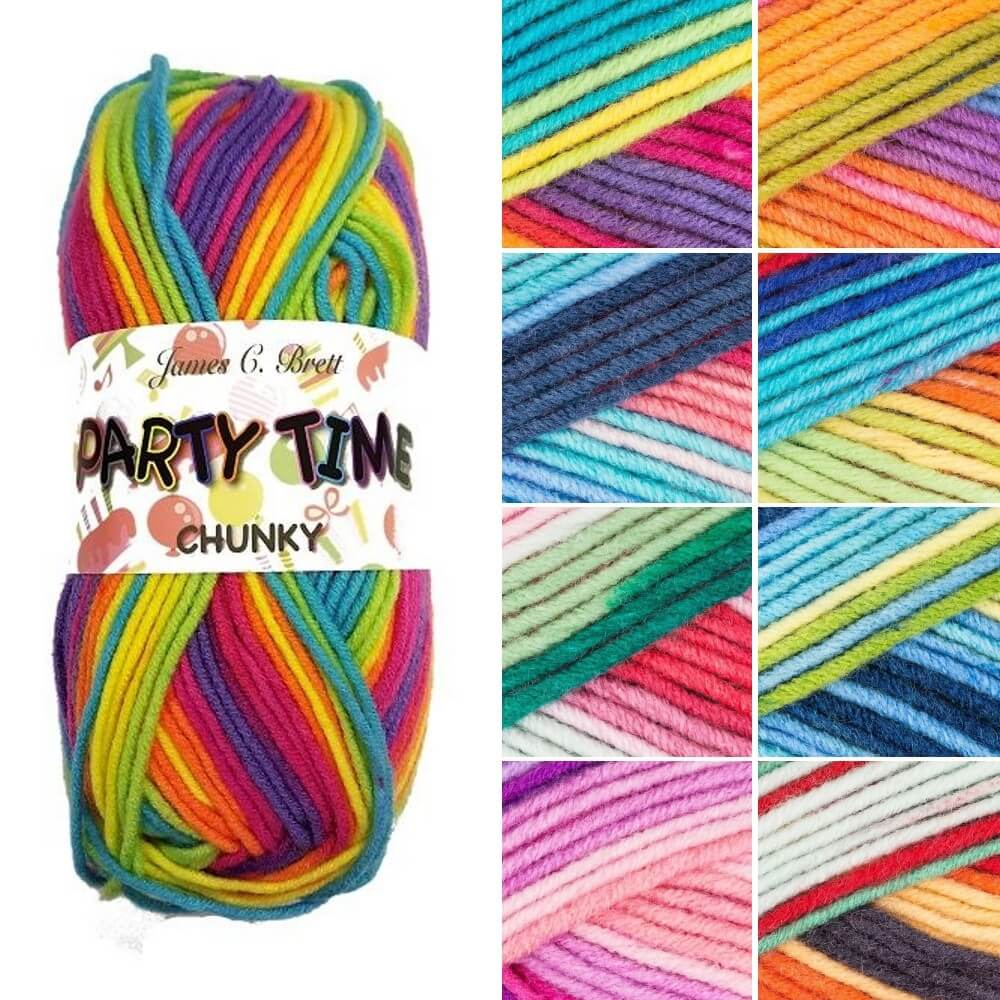 James C Brett Party Time Chunky Acrylic Yarn Knitting Crochet Craft 100g Ball PT1