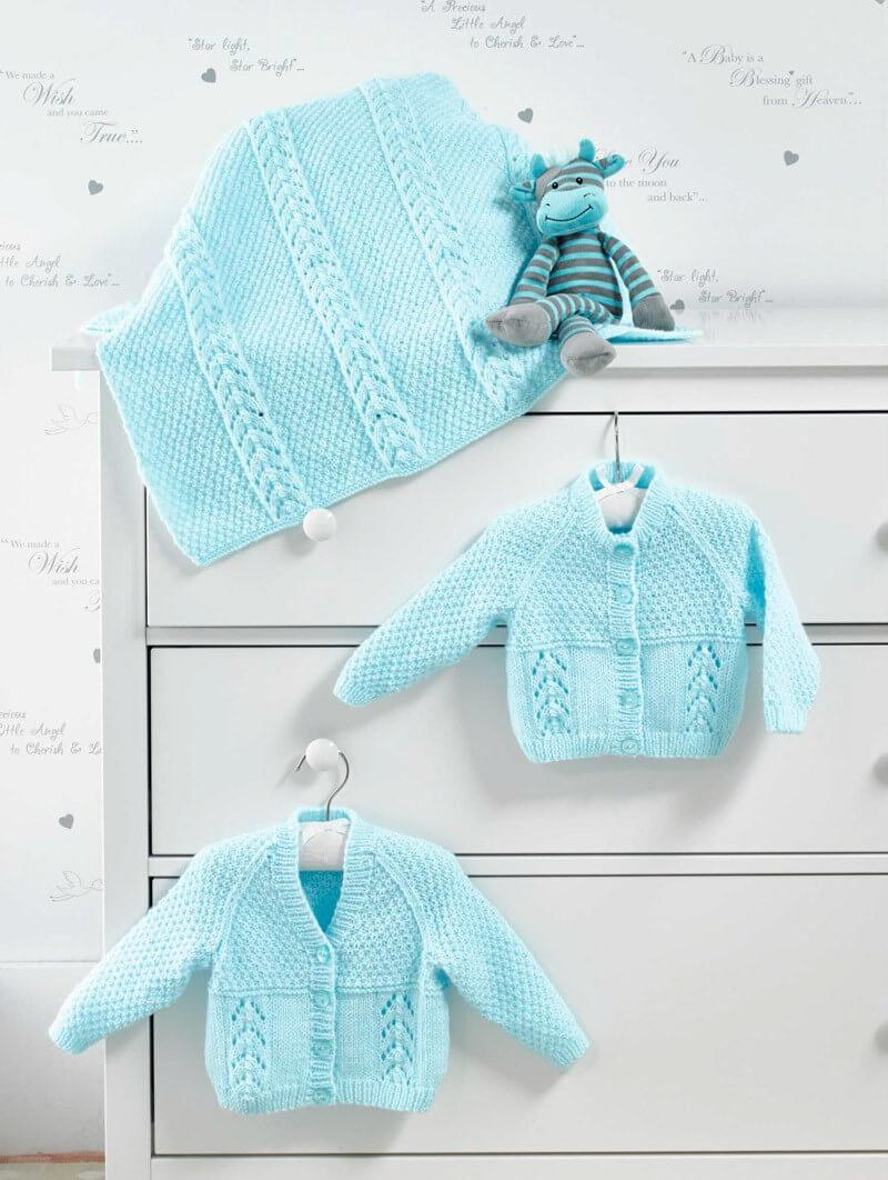 Knitting Pattern James C Brett JB515 Baby DK Cardigan Blanket & Vest
