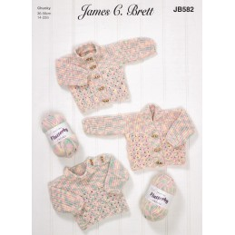 Knitting Pattern James C Brett JB582 Baby Chunky Cardigan & Jumper