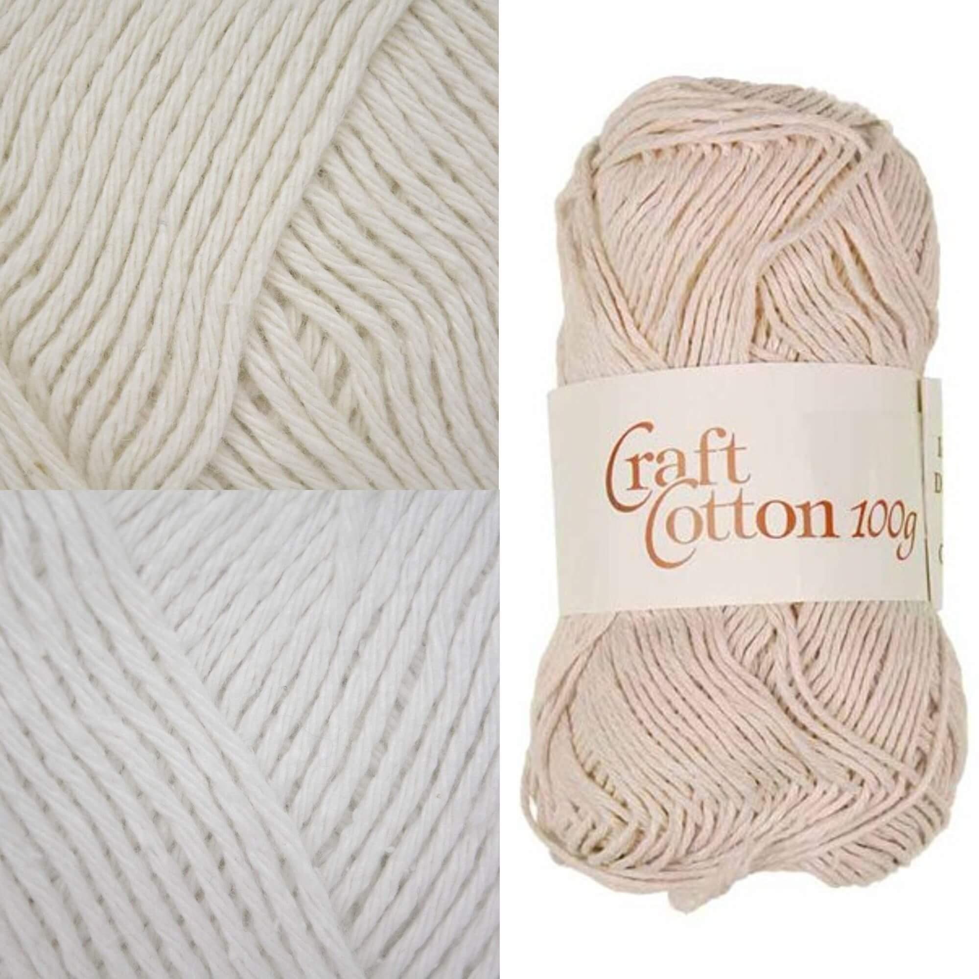 James C Brett Craft Cotton 100% Cotton Yarn 100g Ball Knitting Yarn Knit Craft ECRU
