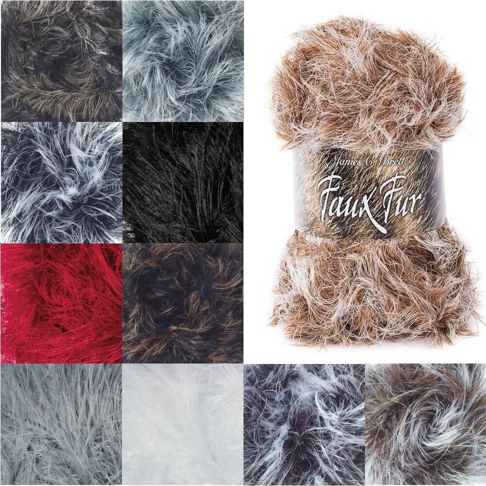 James C Brett Faux Fur Chunky Yarn 100g Ball Knitting Yarn Knit Craft H03 Cream/Black
