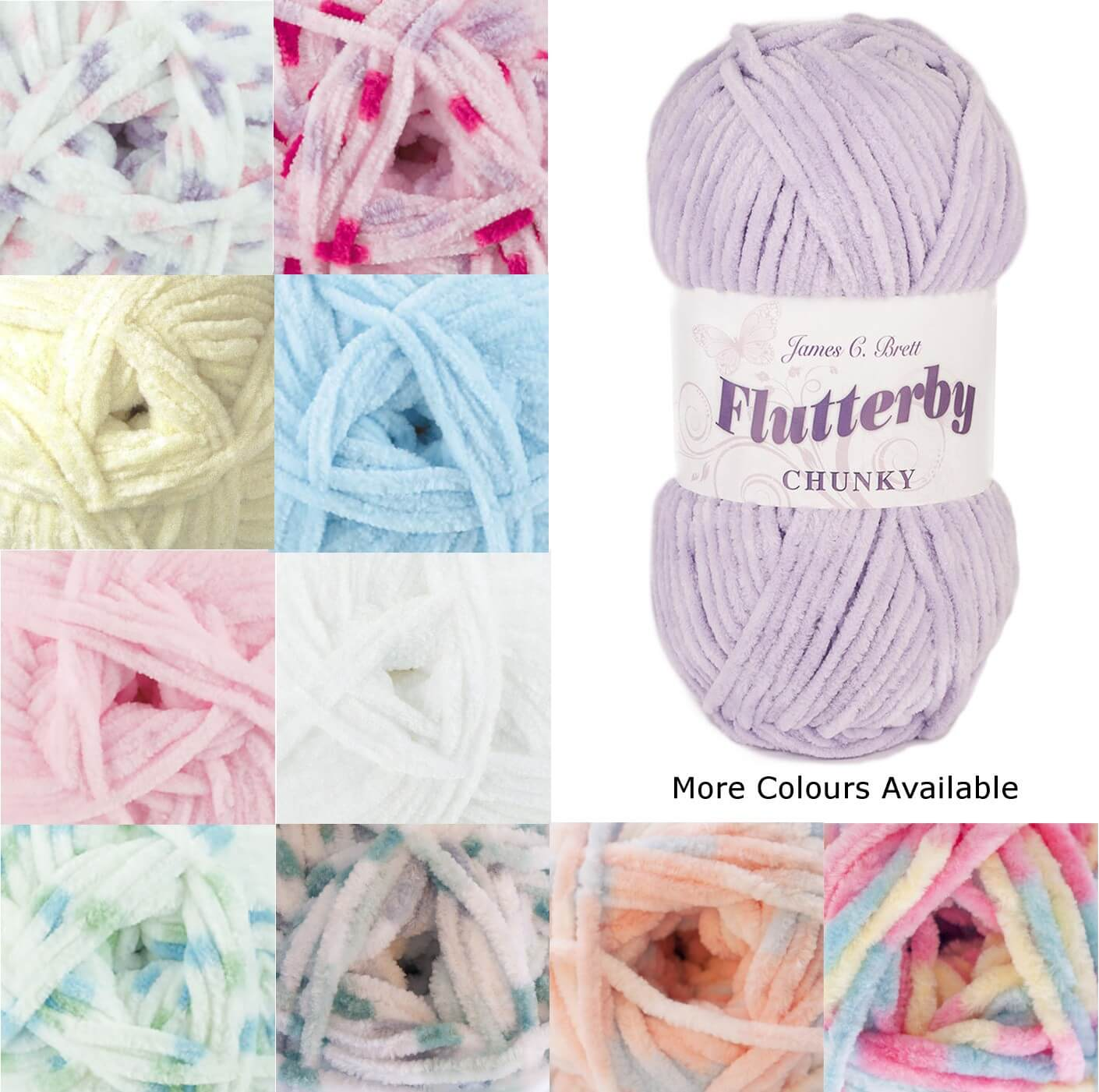 James C Brett Flutterby Chunky Yarn 100g Ball Knitting Yarn Knit Craft B2