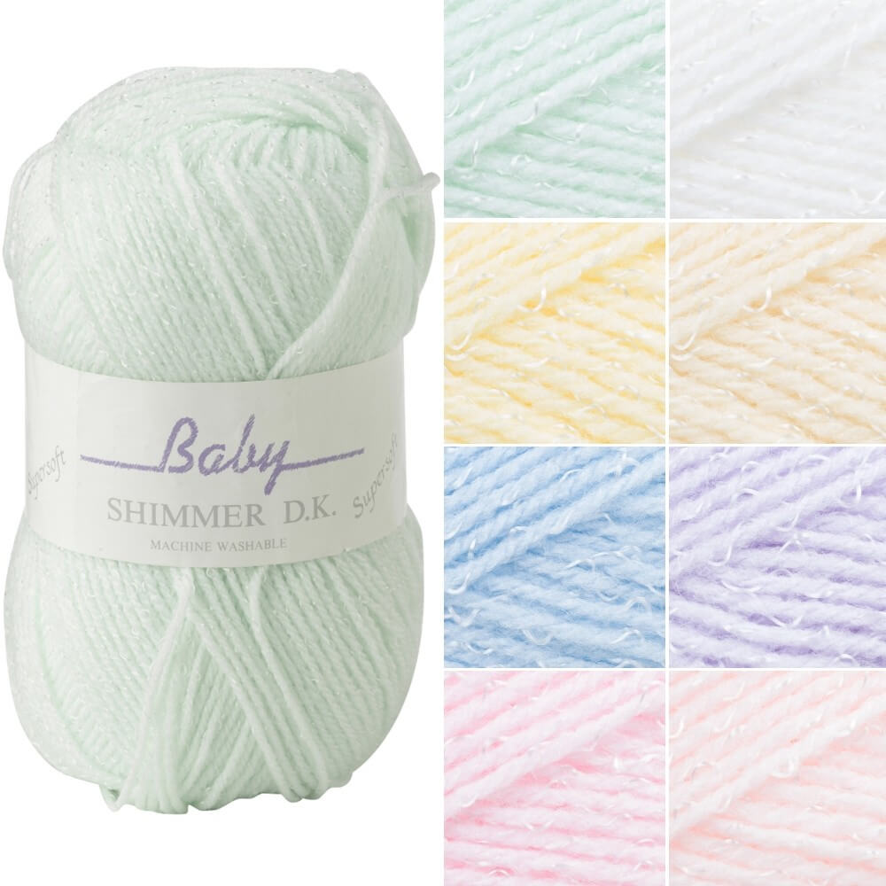 James C Brett Shimmer Baby DK Acrylic Yarn Knitting Crochet Craft 100g Ball BS9