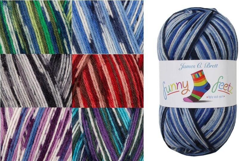 James C Brett Funny Feetz 4 PLY Yarn 100g Ball Knitting Yarn Knit Craft FZ02