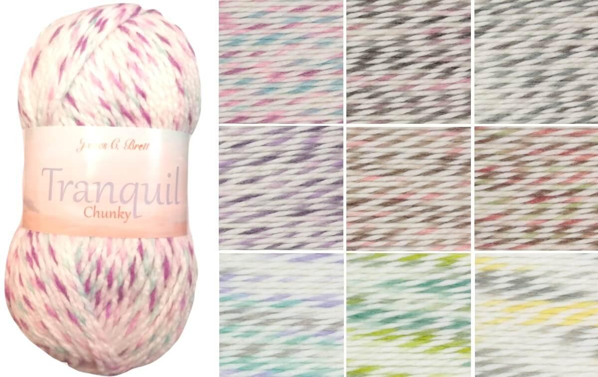 James C Brett Tranquil Chunky Acrylic Wool Yarn Knitting Crochet Craft 100g Ball TQ01