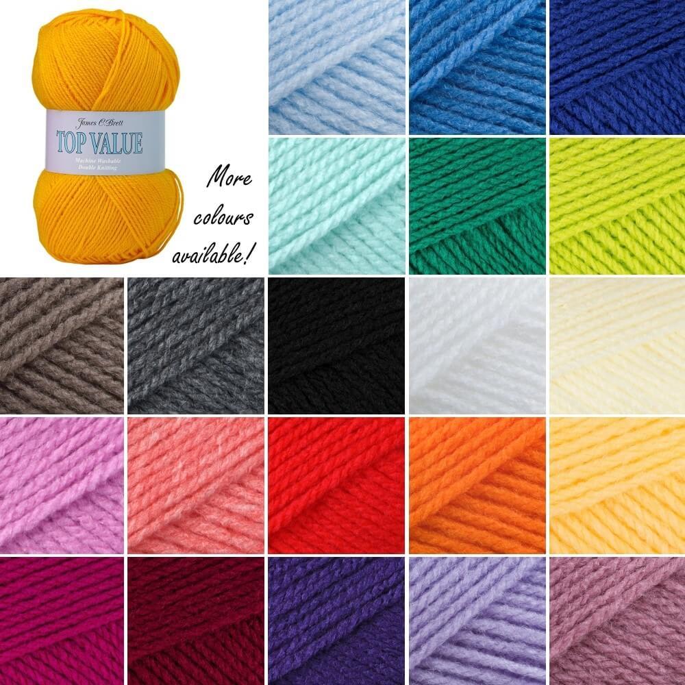 James C Brett Top Value DK Acrylic Wool Yarn Knitting Crochet Craft 100g Ball 841