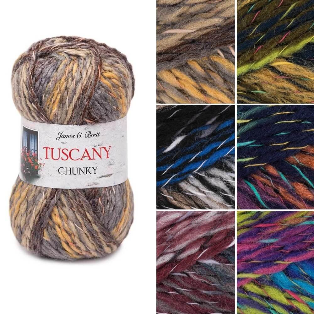 James C Brett Tuscany Chunky Acrylic Wool Yarn Knitting Crochet Craft 100g Ball TU04