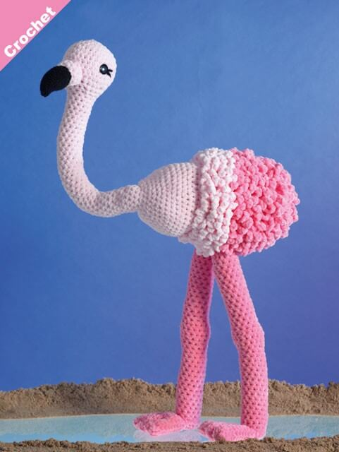 Crochet Pattern James C Brett JB404 Chunky Flamingo Stuffed Toy