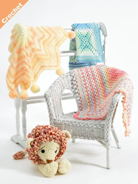 Crochet Pattern James C Brett JB408 Double Knitting Baby Blankets