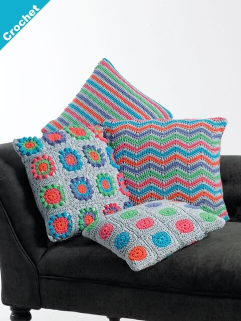 Crochet Pattern James C Brett JB409 Chunky Cushion Covers