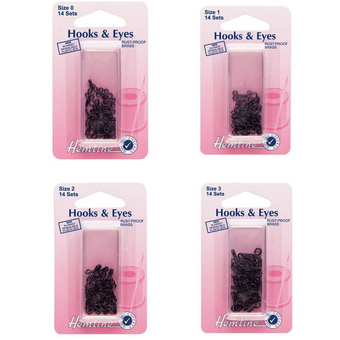 Hemline Hooks and Eyes: Black - Size 1