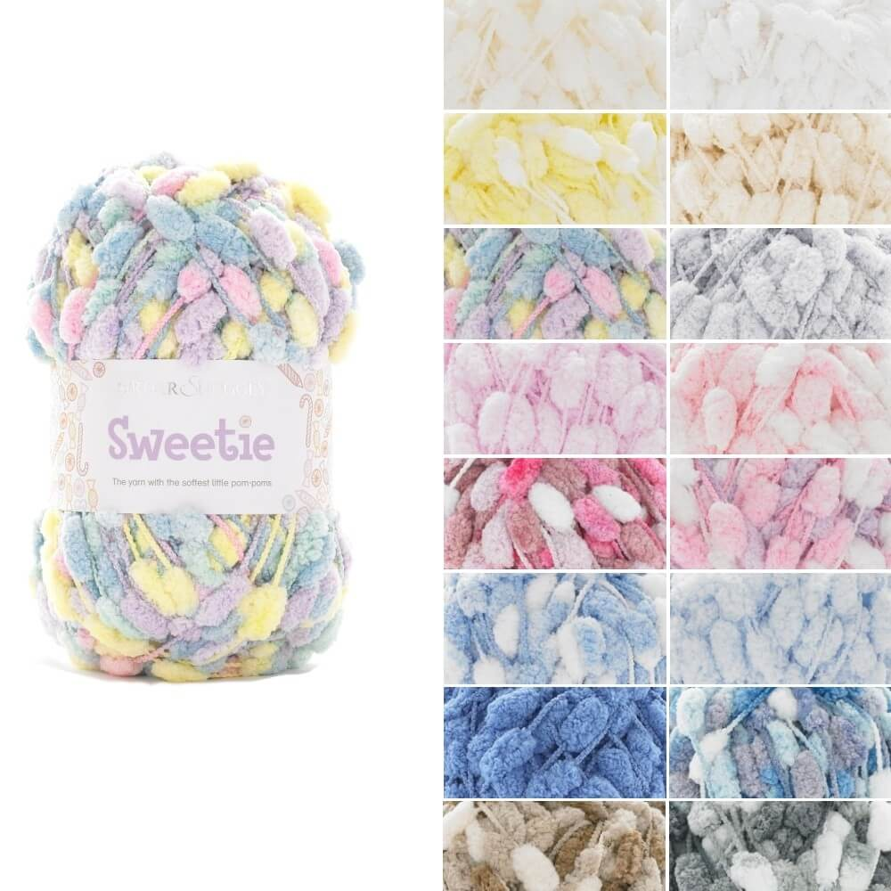 Sirdar Snuggly Sweetie Pom Pom Yarn Knitting Crochet Crafts 200g Ball 416 Dove