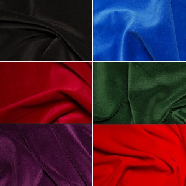 Black 100% Cotton Velvet Fabric Costume Dressmaking Eveningwear