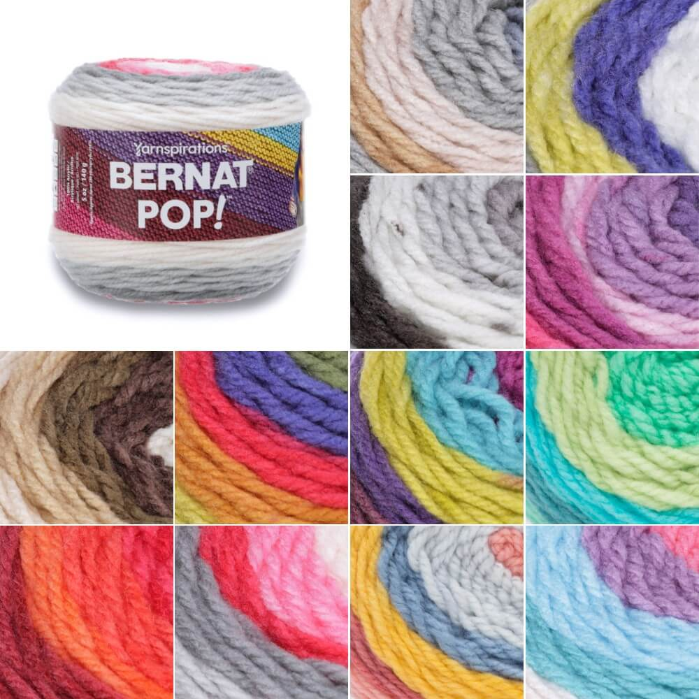 Ebony and Ivory Bernat Pop! Blanket Aran Yarn Acrylic Knit Knitting Crochet Crafts 140g Ball