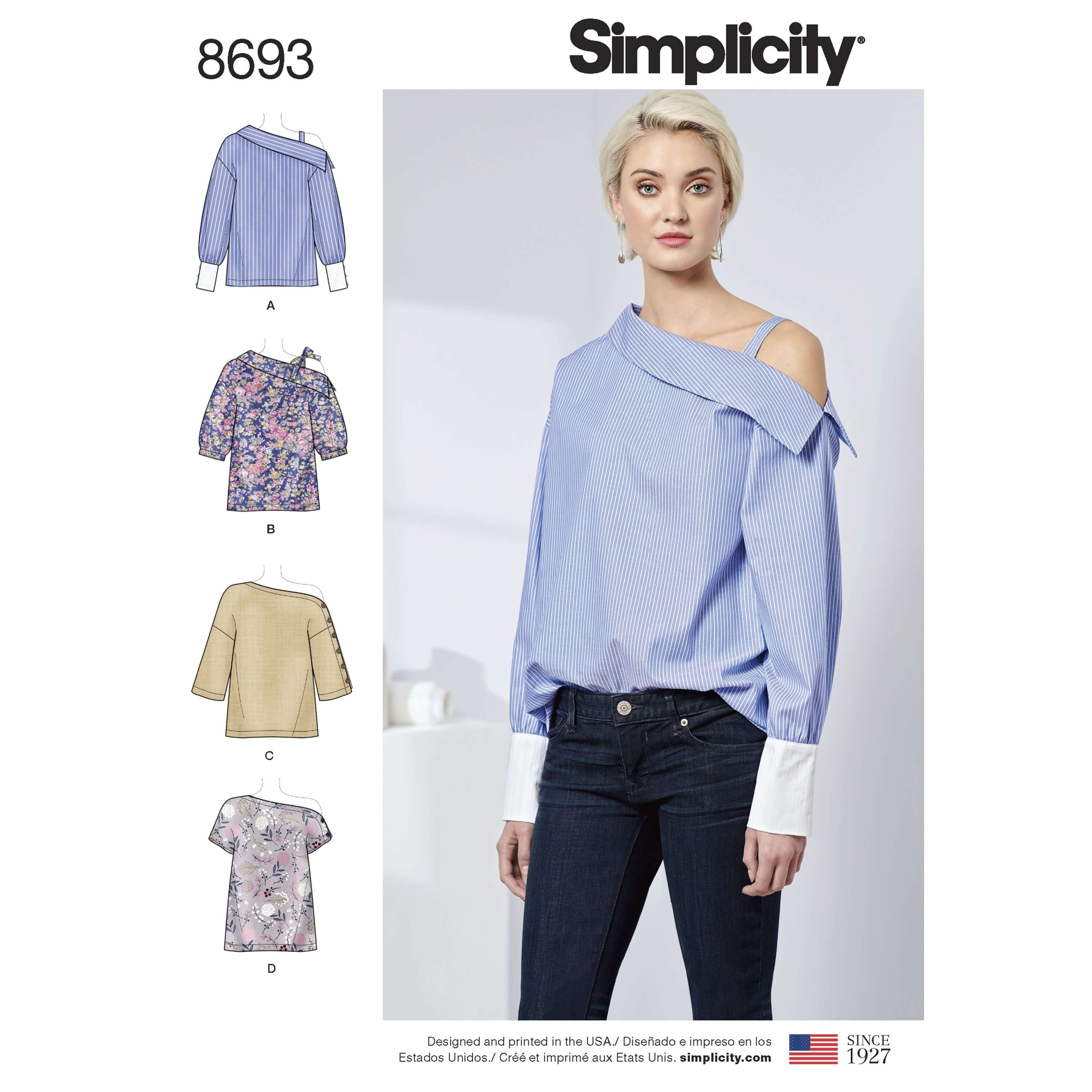 Simplicity Sewing Pattern 8693 Women's One Shoulder Shirts Blouses