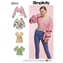 Simplicity Sewing Pattern 8644 Women's 4 Styles Wrap Tops