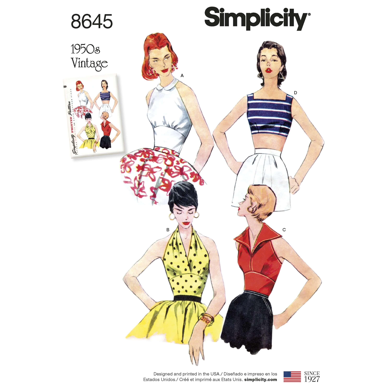 Simplicity Sewing Pattern 8645 Women's Vintage 50s Halterneck Tops