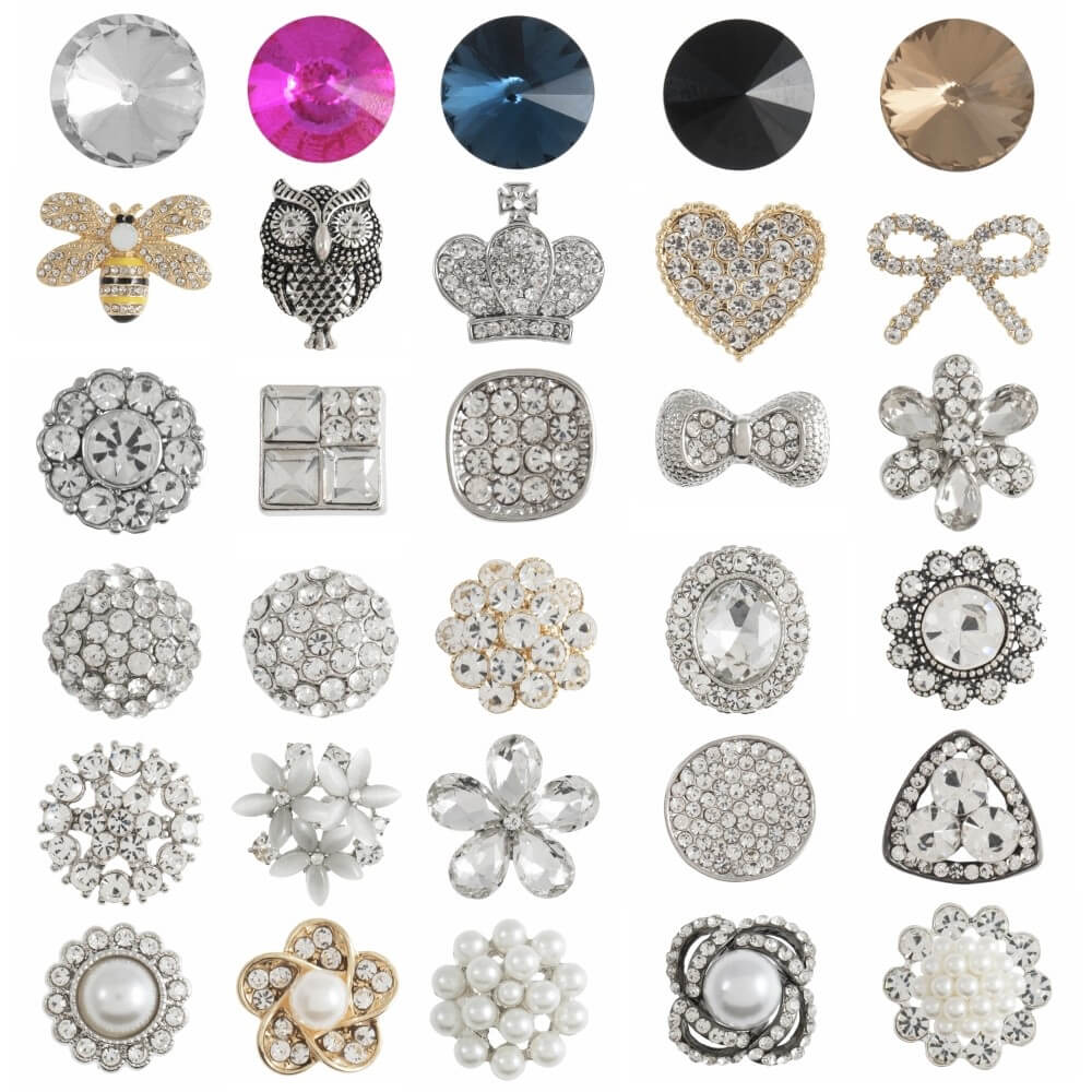 1 x Diamante Loose Shank Back Button Buttons Sparkle Collection Flower Cluster
