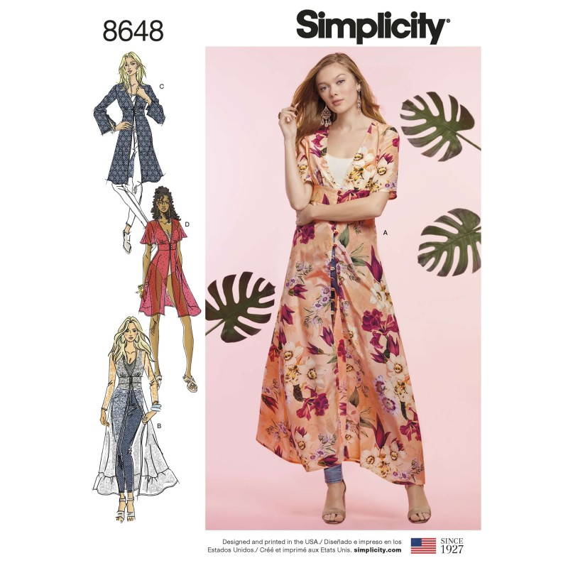 Simplicity Sewing Pattern 8648 Women's Duster in Two Lengths Kimono